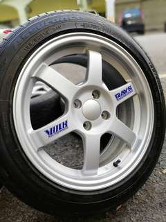 Te37 16 inch sports rim alza tyre 70%. Sikat rambut belah tengah, rim cun cun apa tunggu lagi abang long abang ngah!!!