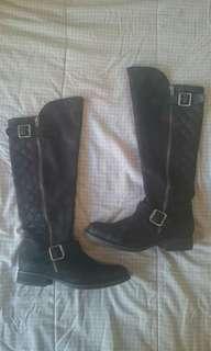 Steve Madden Black Leather Knee High Boots