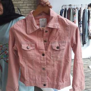 Jaket denim pink