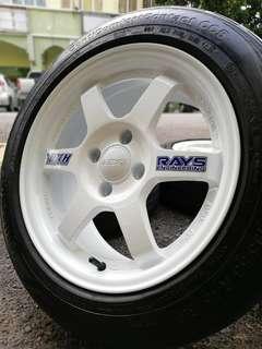 Te37 15 inch sports rim myvi tyre 70%. Putih putih melati, brother masuk kereta apa pun confirm melokek dek hati!!!