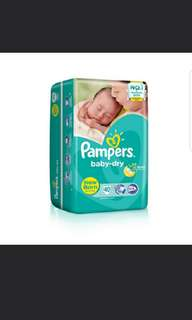 Pampers Baby Dry Diapers Newborn 40 pieces FOC Teether