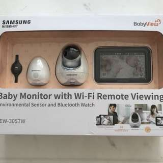 amsung Wisenet SEW-3057WN BabyView Wi-Fi Remote Viewing Baby Video Monitoring System Including BabyView Watch and Temperature, Humidity, Air Quality Sensor
