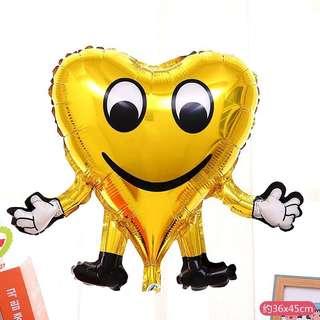 C141 happy birthday party foil balloon emoji face