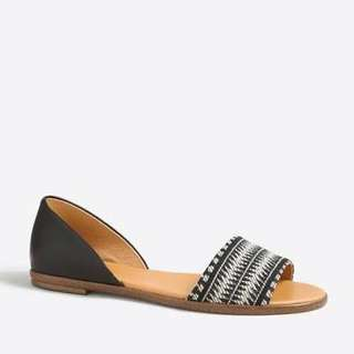 Brand New J. Crew woven Peep-toe D'orsay Flats / Flat Shoes
