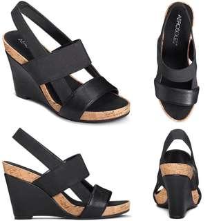 Brand New Aerosoles Magnolia Plush Wedge Sandals in Black