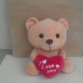 Tea-coloured 'I Love You' plush bear