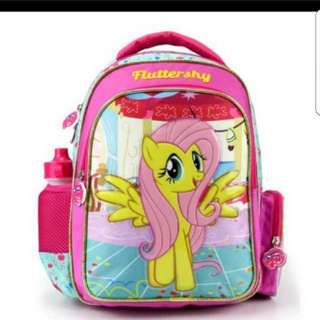 In stock My Little Pony School Bag For Primary 1 to 3 School Children Size is 26  × 16 × 37 cm.