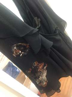 BCBG silk chiffon ruffle wrap delicately sequinned halter top