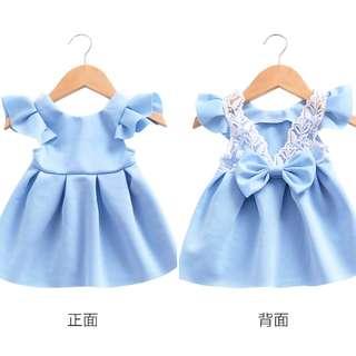Blue Flying Sleeve Lace Bow Halter Princess Dress