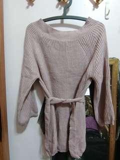 🚚 粉色腰間綁帶針織上衣