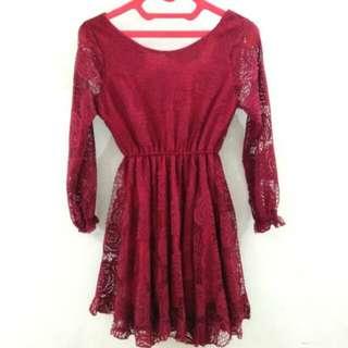Lace Dress Maroon