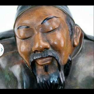 睡禪 (心靜自然涼)陶藝品