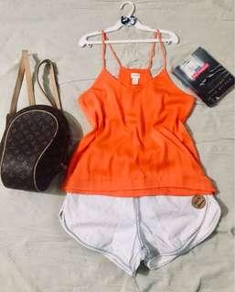 h&m silky orange top