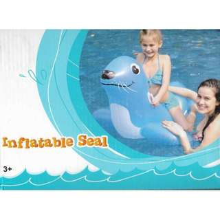 (Free Delivery) Light Blue Inflatable Seal Animal Ride On Swimming Float