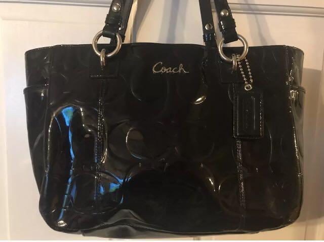 24480875ea Authentic Coach Patent Leather Black