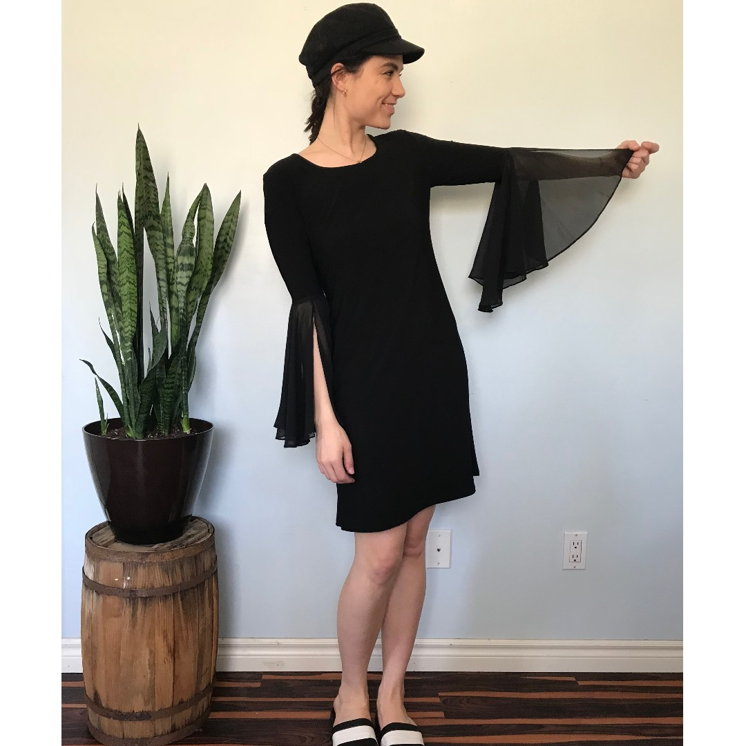 Black tunic dress, flowy sleeves- Size 6