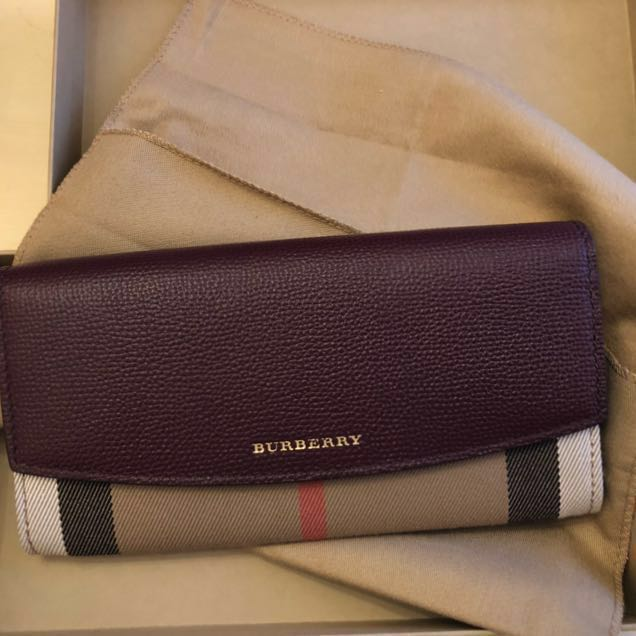 Burberry House Check and Burgundy Leather Wallet