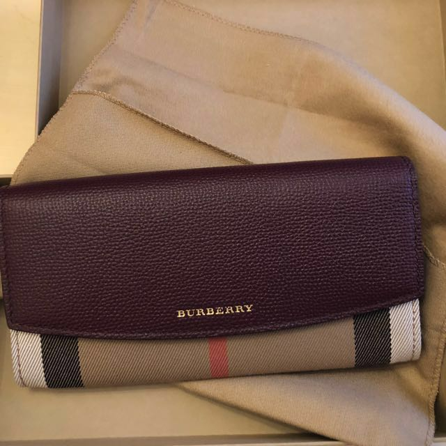 Burgundy Leather and House Check Burberry Wallet REDUCED $300