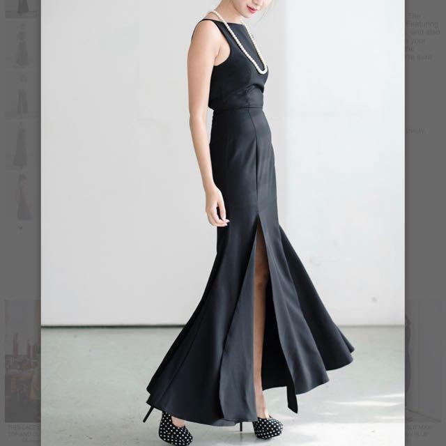 8627a413b60 Cape High Slit Maxi Dress In Black
