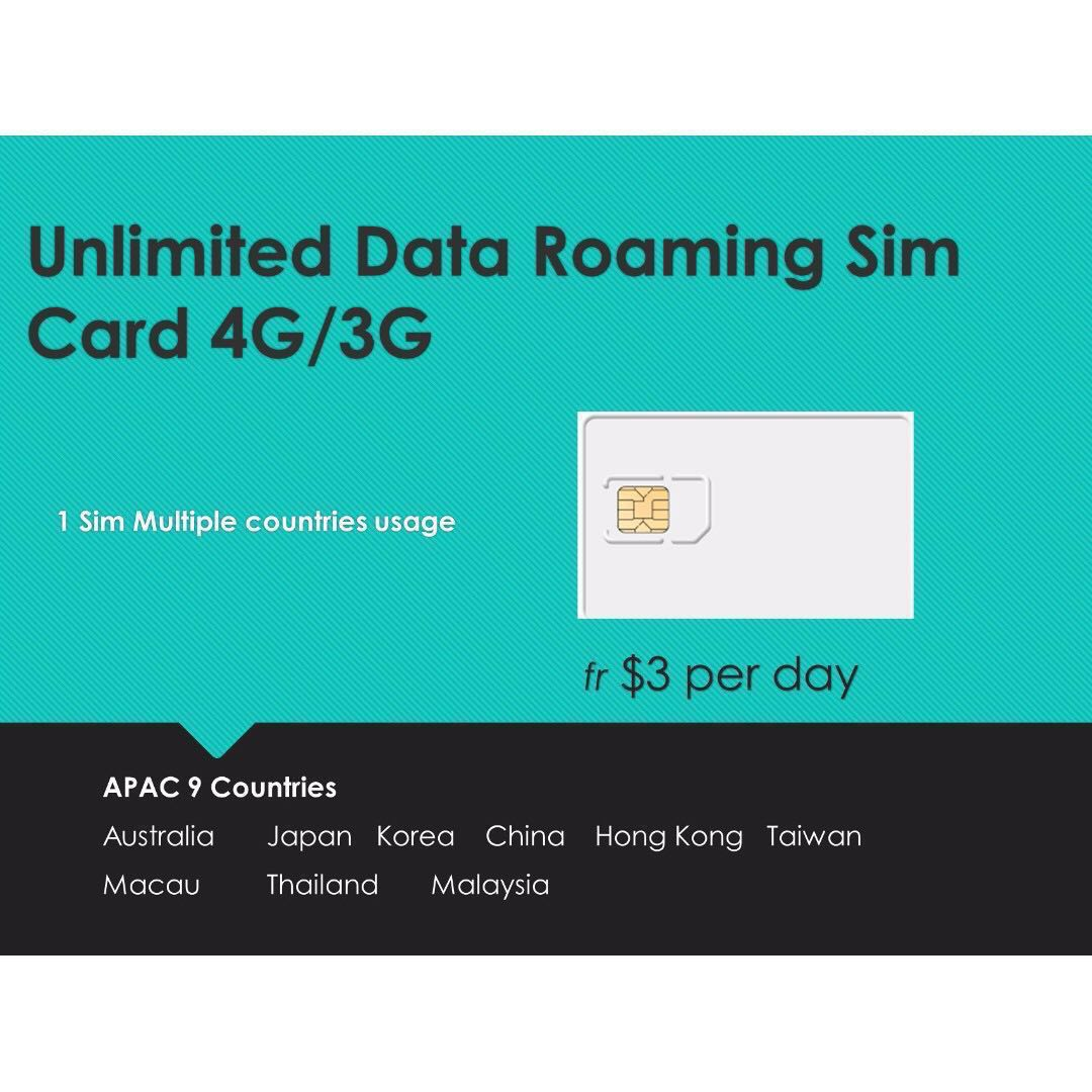 Data SIM card unlimited 9 countries