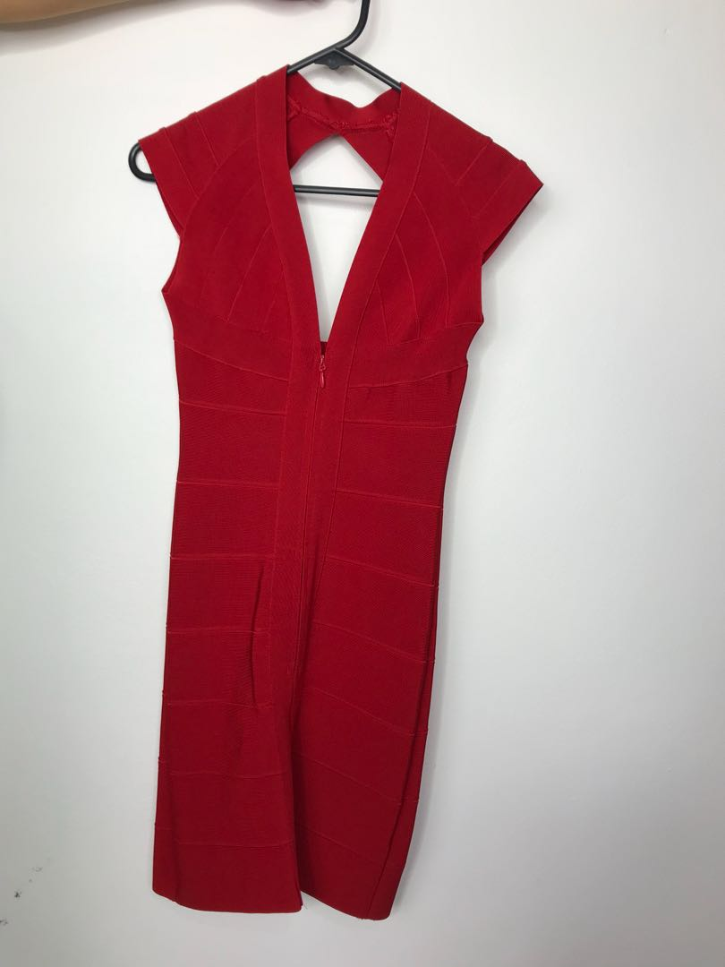 Doll House Red Bandage Dress Super Thick Material Size S Women S