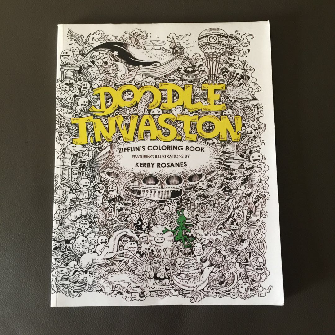 Doodle Invasion Adult Colouring Book KERBY ROSANES Books