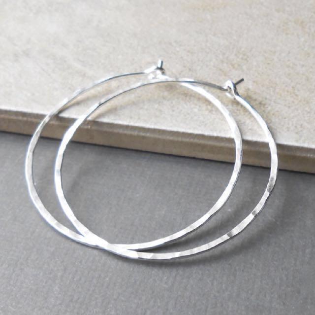"""Hammered Silver Hoop Earrings 2"""""""