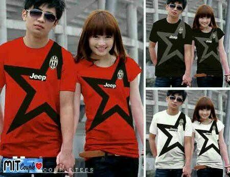 Kaos Couple / Baju Couple / Kaos Pasangan Juve bintang (merah,putih,hitam), Olshop Fashion, Olshop Wanita on Carousell