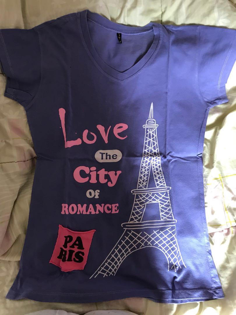 kaos Paris love the City of Romace ungu / violet
