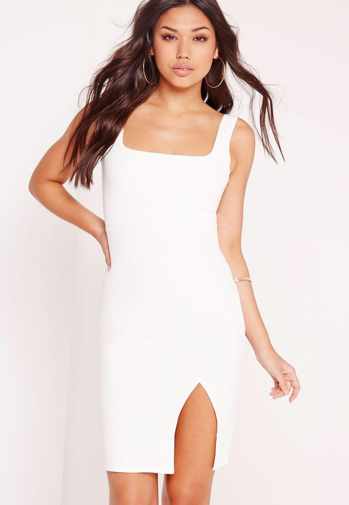 Missguided White Midi Dress Side Split Size 6-8
