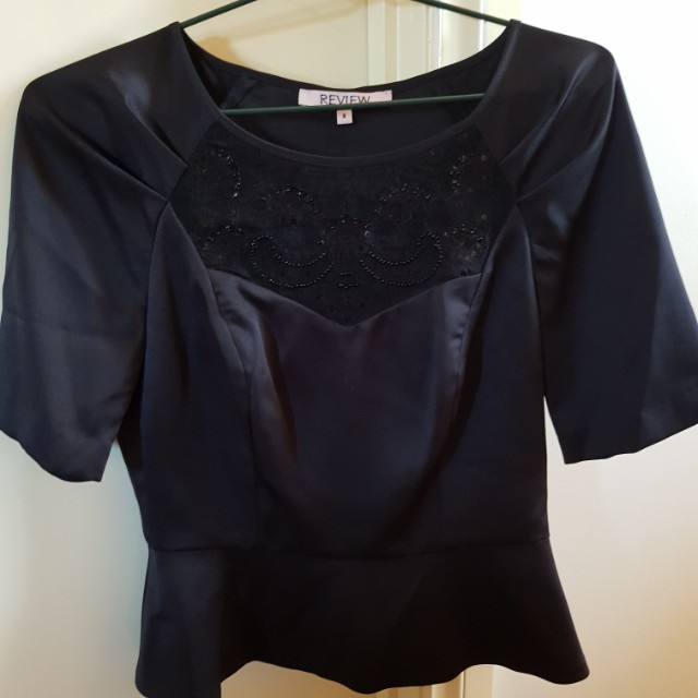 Review black silk beaded top. Size 8.