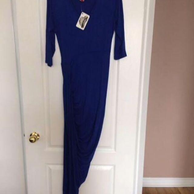 Royal Blue High Slit Maxi Dress