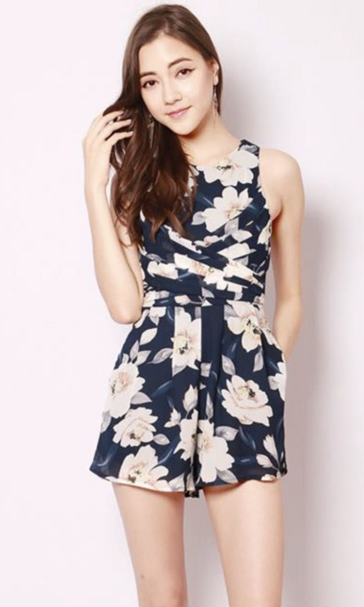 2acd90b353f SSD Navy floral romper