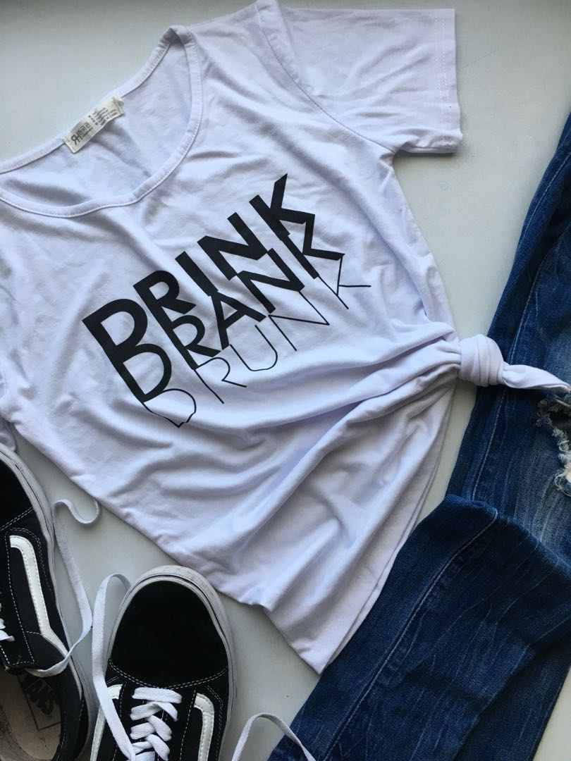 T-shirt with graphic text- white