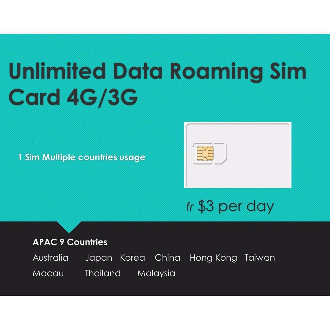 Unlimited Data roaming Sim card 9 countries APAC