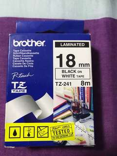 Brother original Tz-241 18mm Black in white tape