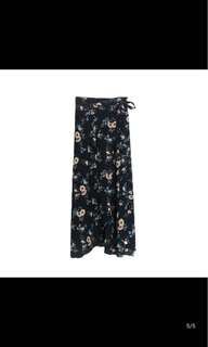 Navy Floral Wrap Maxi Skirt