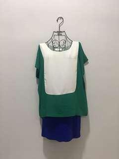 ❤️Green Mix Navy Blue Dress 132