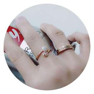 🚚 香港💎正生 925純銀 圓球鑲鑽戒指 (可調式)