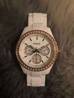 Authentic Fossil White / Copper Diamanté and Mother of Peal Watch