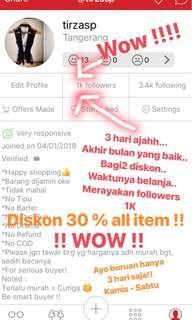 Diskon 30 % all item!!