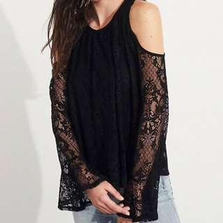 Hollister lace cold shoulder top