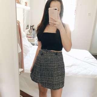 Asymmetrical Checkered Wool Skirt