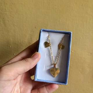 Stainless Gold Necklace (with earings)