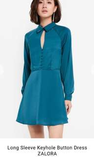 ZALORA Long Sleeve Key Hole Button Dress