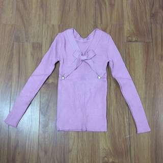 蝴蝶結修身針織衫