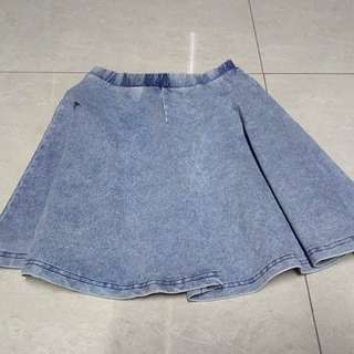 Topshop washed denim like skater skirt