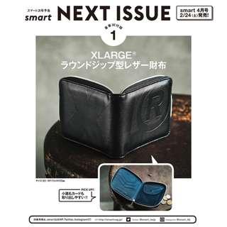 日本雜誌 smart 附贈 XLARGE 黑色 PU皮 個性壓紋錢包 皮夾 短夾 零錢包 收納包