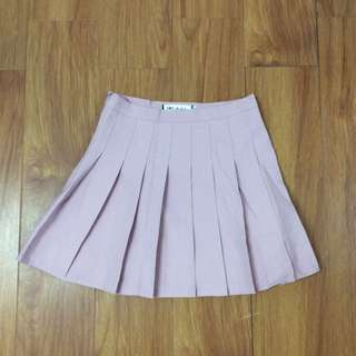 粉色拉鍊百褶短裙