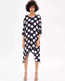 European and American style wave point printing round neck hem irregular dress skirt